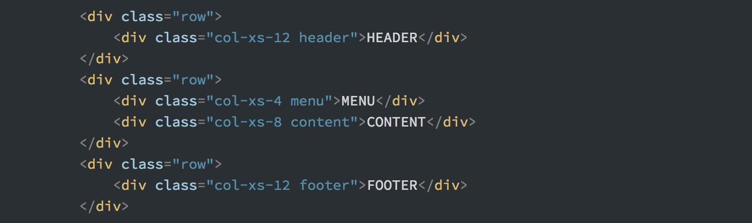 Разметка, необходимая для создания сайта в Bootstrap