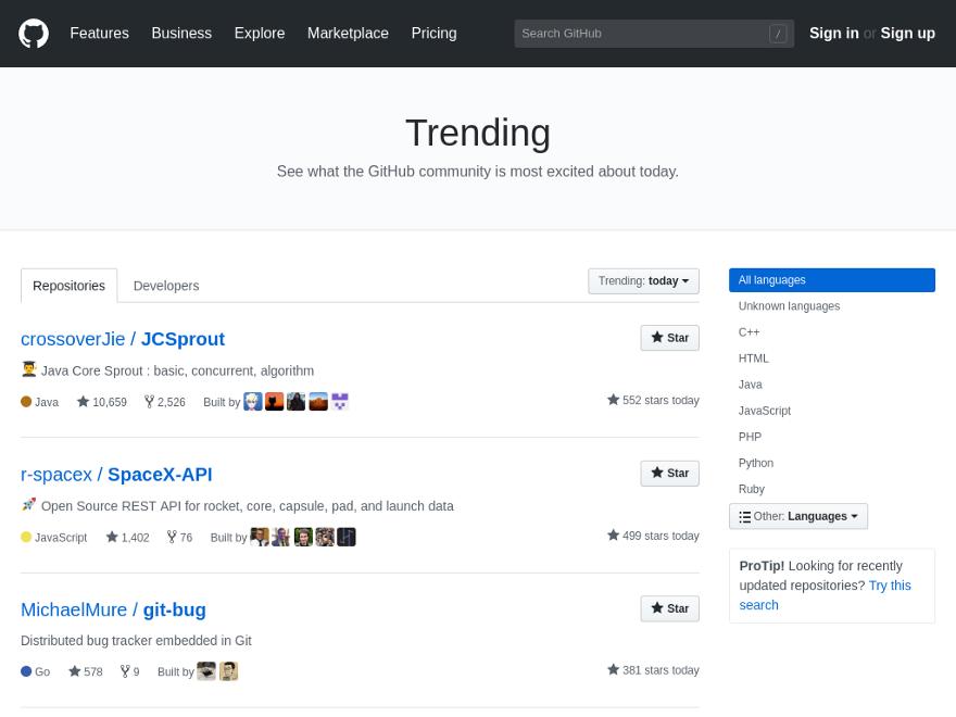 Тренды на GitHub