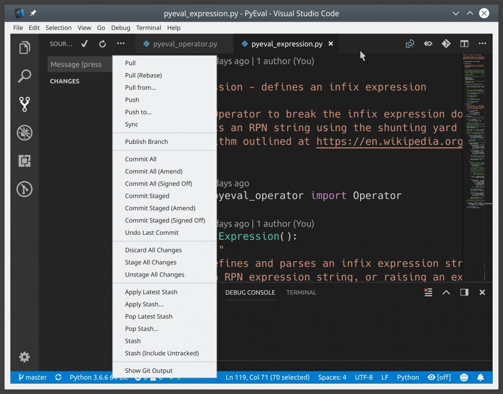 Функции Git, доступные из пользовательского интерфейса