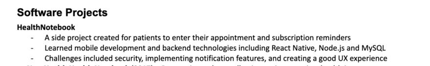 Указание проектов в резюме: описание, навыки, технологии.