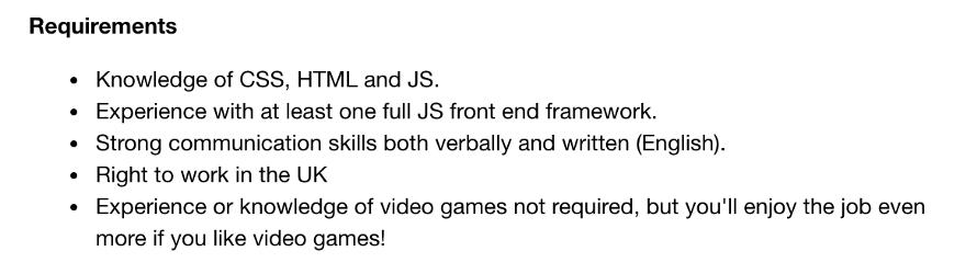 Пример требований к разработчику-джуниору.