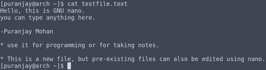 Команда cat выводит содержимое созданного ранее файла