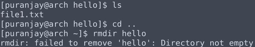 Диреткория hello содержит файл file1, поэтому при попытке ее удаления выводится сообщение об ошибке