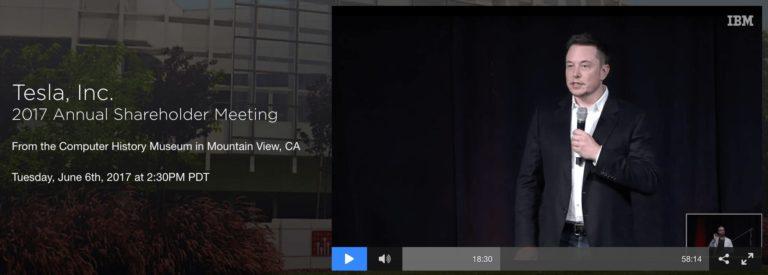Скриншот вебкаста ежегодного собрания акционеров Tesla