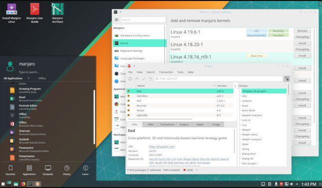 Дистрибутив Manjaro в версии KDE