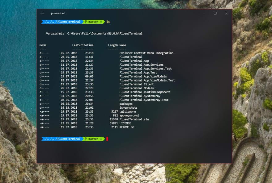 Терминал для Windows Fluent