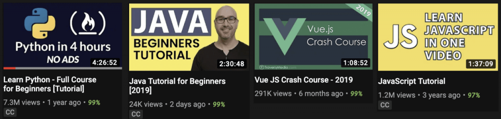 YouTube каналы с обучающими видео