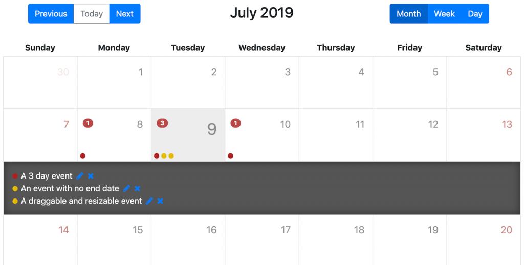 Календарь Angular