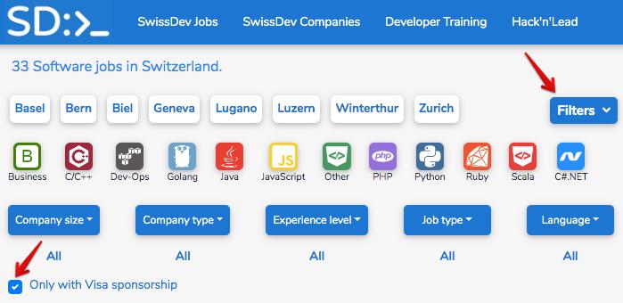 SwissDev - сайт для поиска вакансий с возможностью релокейта в Швейцарию