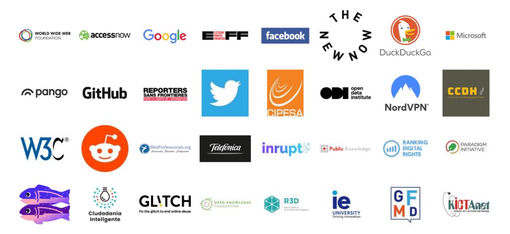 Часть компаний и организаций, поддержавших проект Contract for the Web.