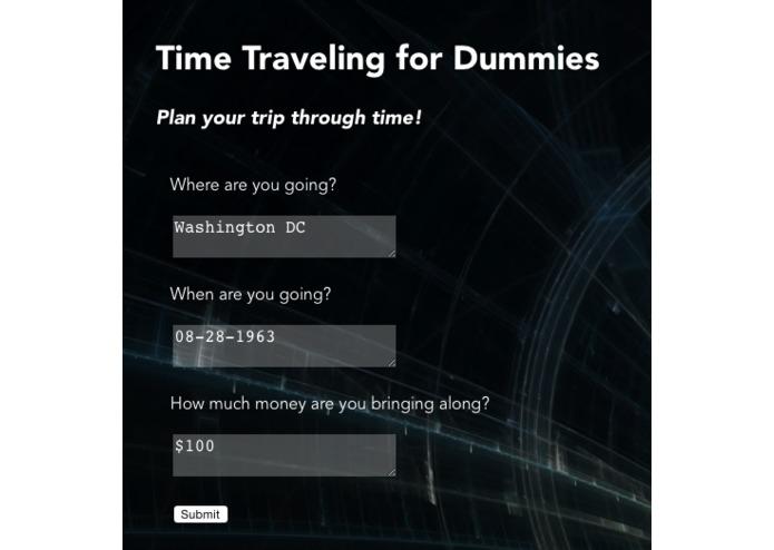 Интерфейс приложения для путешественников во времени