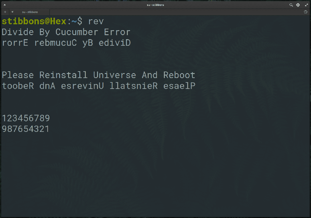 rev linux command