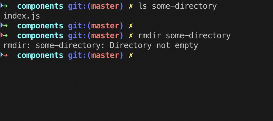 Удаление пустой директории при помощи rmdir.