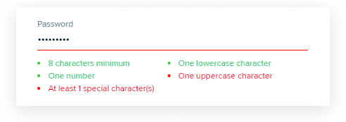 Валидация пароля в поле формы регистрации