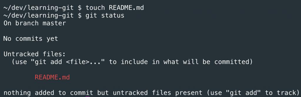 Вывод команды git status после добавления файла в директорию