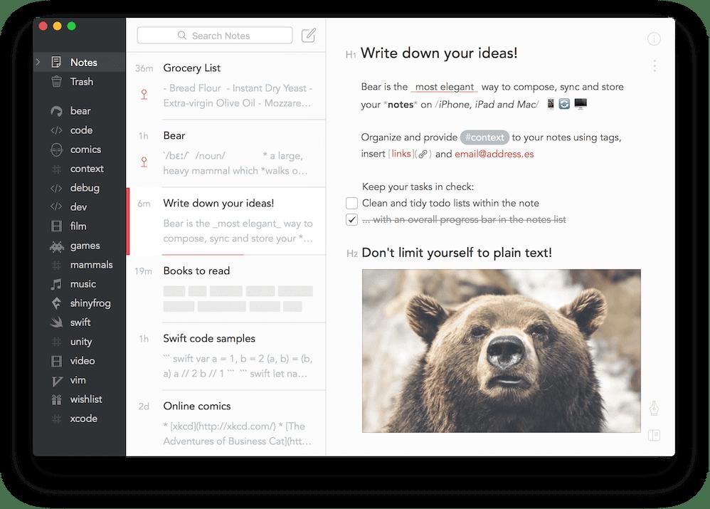 Приложение для заметок Bear
