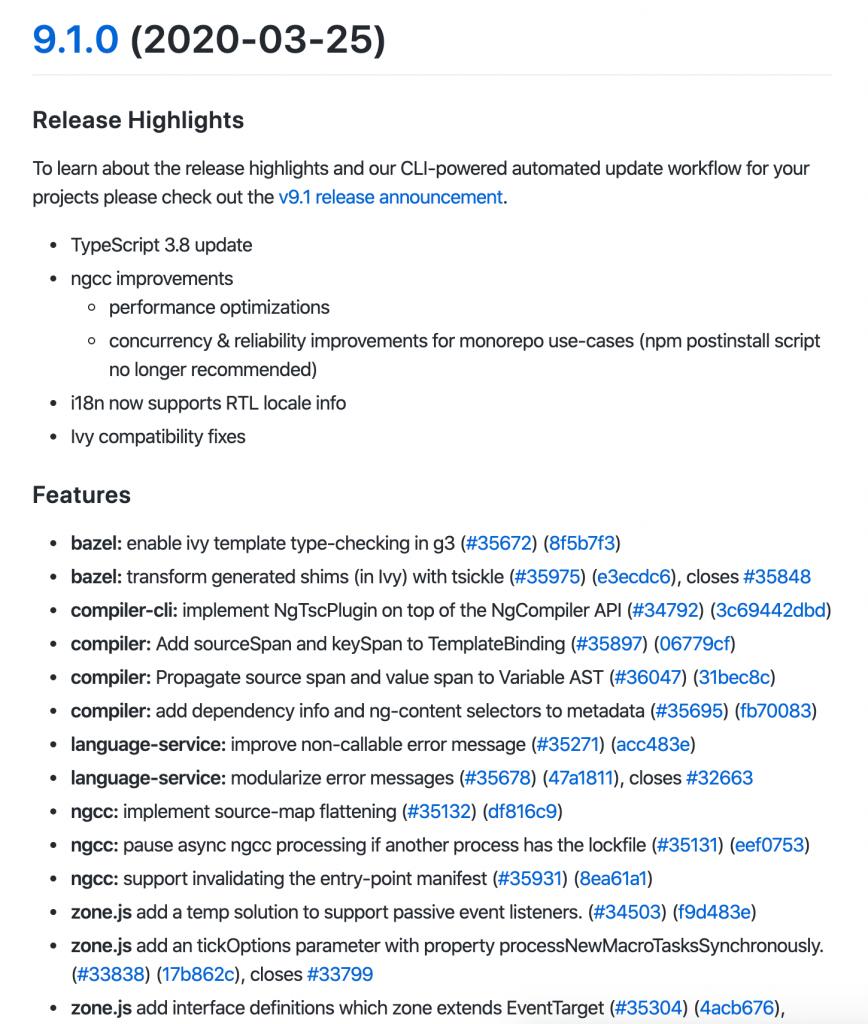 Пример changelog проекта с открытым кодом