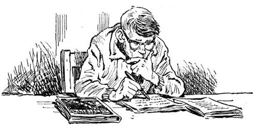 """Саша Привалов и математика. Иллюстрация к книге """"Понедельник начинается в субботу"""""""